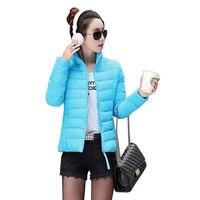 2018 Winter Jacket Women short Coat Mujer Parkas Thin Solid Outerwear cotton Plus Size 4XL Slim Zipper Stand collar Coat Femme