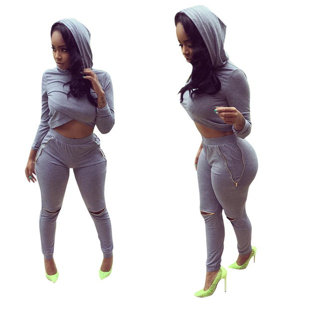 Feiterawn 2017 New Women Casual Fashion Elegant Two Pieces Tracksuit Solid Full Sleeve Hooded Top Long Pants Sets OS2141
