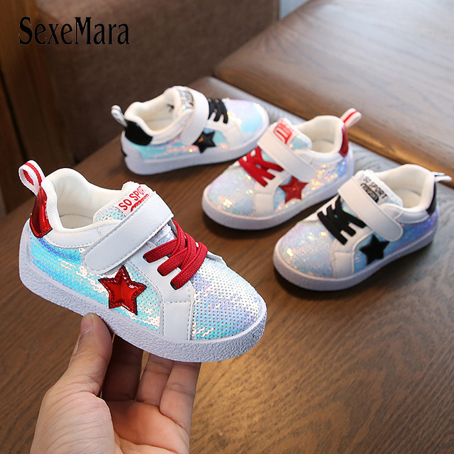 6ae900050e4 US $20.28 14% OFF|Glitter Bling Children Sneakers for Boys Girls Sequins  Outdoor Casual Shoes 2019 Beautiful Kids Shoes Baby Flat Heel Shoe  C01319-in ...