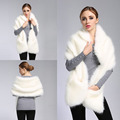 Fashion Womens Fluffy Winter Warm Coat Faux Fox Fur Shawl Stole Wrap Shrug Scarf