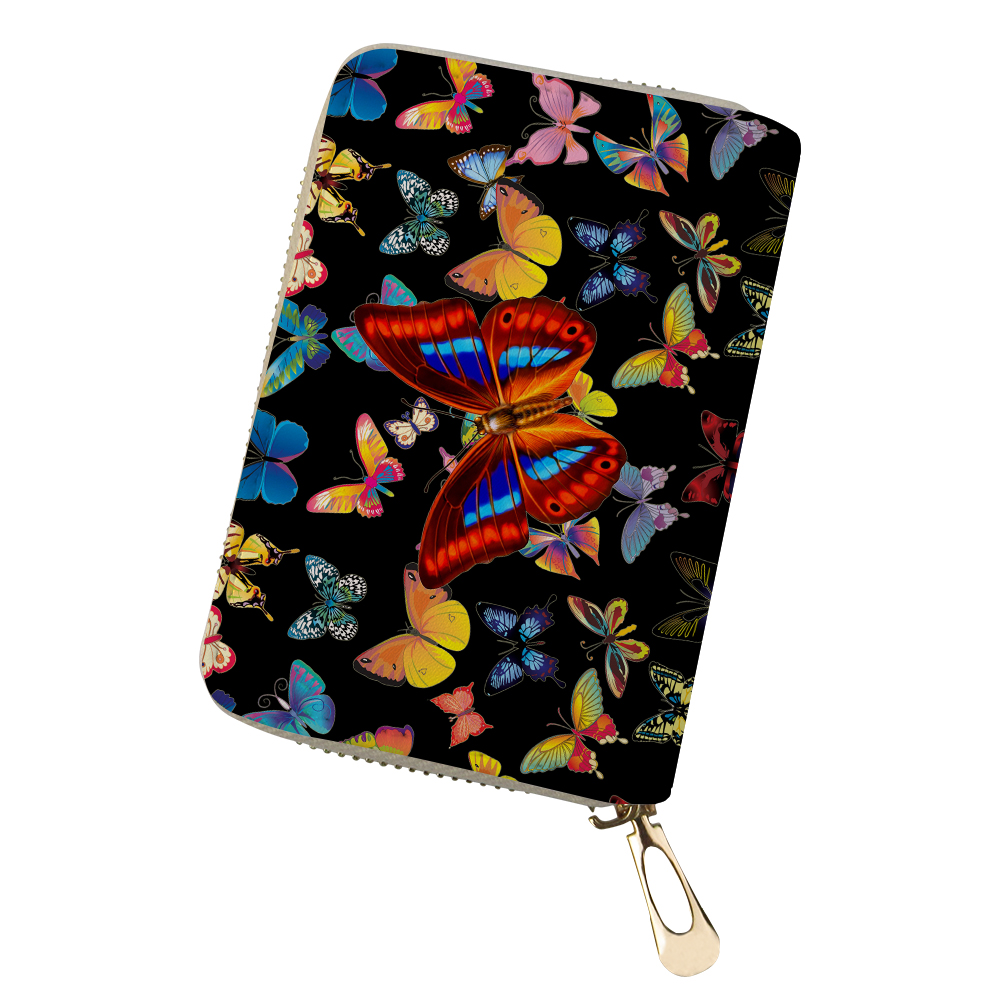 Для женщин держатель для карт на молнии Pu кожа бабочка 3D печати монета сумки 20 слотов ID Имя кредитной карточки Обложка пыле