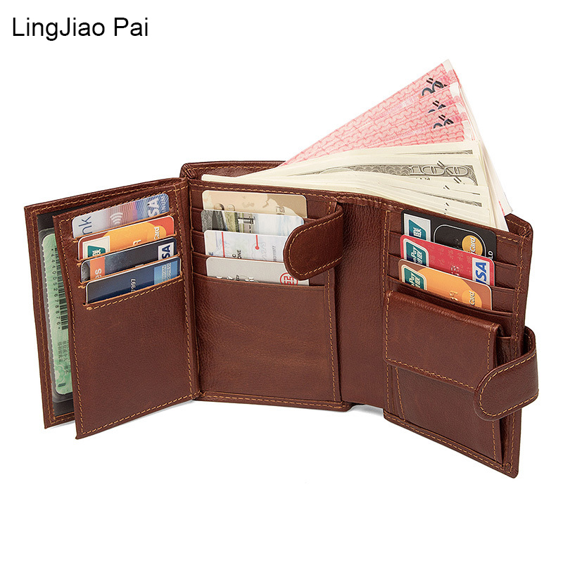 LingJiao Pai Genuine Leather Multi-Card Case Short Wallet Travel Coin Purse