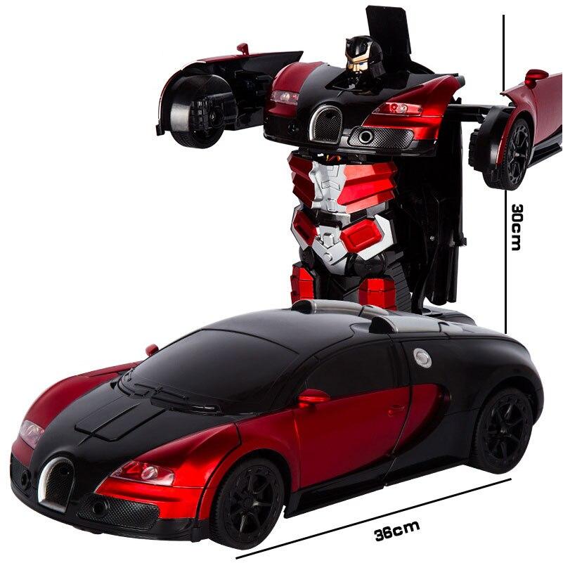 2,4 г Индукционная деформация RC автомобили Трансформация Робот автомобиль игрушка свет электрический робот модели игрушки для детей Подарк...