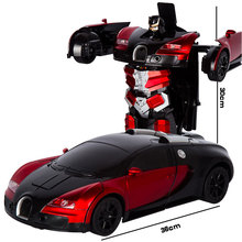 2.4G التعريفي تشوه RC سيارات التحول سيارة روبوت لعبة ضوء روبوت كهربائي نماذج لعب للأطفال هدايا