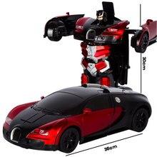 2,4G Индукционная деформация радиоуправляемые автомобили робот трансформер автомобиль игрушка свет электрические модели роботов Игрушки для детей Подарки