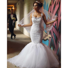 Mrs win Sexy 2019 Mermaid Lace Wedding Dresses Spaghetti