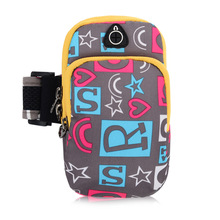 Outdoor Sports Arm Bag Mobile Phone Arm Bag Waterproof Double-deck Pocket Fit 5.2-6 Inch Men Women