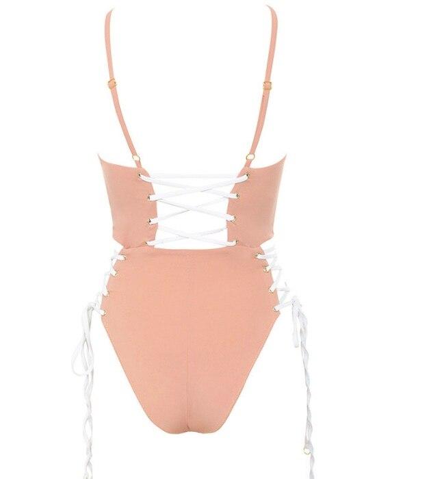 Bandage Solid Color Backless One-Piece Swimsuit Bandage Bikini For Women Bathing Suit Biquni 2017
