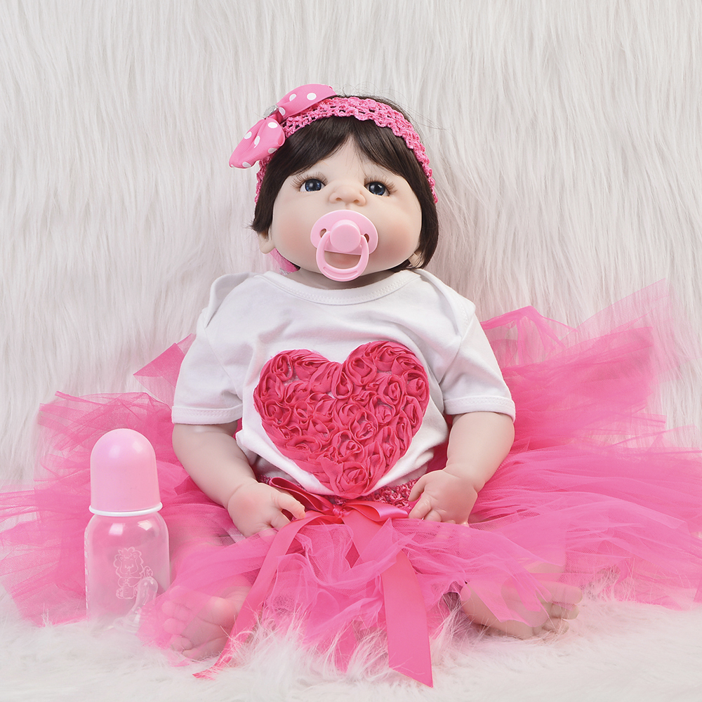 Cute 23'' Full Silicone Vinyl Reborn Baby Girl 57Cm Lifelike Newborn Doll Collectible Real Touch Reborn Boneca Kid Gift Bath Toy