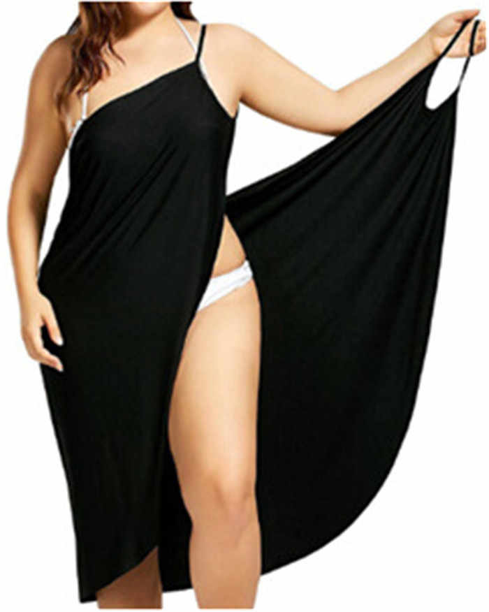 Sexy femmes robe d'été 2019 Spaghetti sangle v-cou irrégulière lâche robe dos nu été plage robe noir blanc mince Vestidos