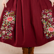 New Linen Long Skirts Womens Vintage A Line Midi Skirt Female Embroidery Chinese Style Casual Simple Loose Big Swing Skirts