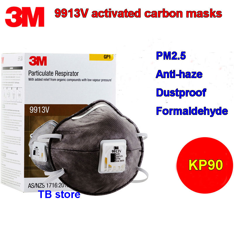 3M 9913V KP90 respirator mask Activated carbon With breathing valve protective mask Formaldehyde PM2.5 dust filter mask 3m 9913v dust mask kn90 anti non oily particulate matter dust protective masks breathing valve mask as nzs la h012915