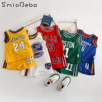 Спортивная одежда для маленьких мальчиков, футболки + короткие штаны, комплекты из двух предметов с буквенным принтом для девочек, спортивн...