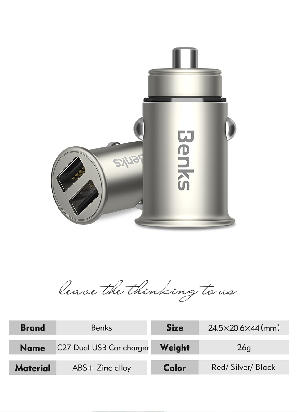 Benks Dual USB Port Quick Car Charger Lighting For iPhone X 10 8 7 Huawei Samsung Galaxy S7S6 Unviersal 4.8A Fast Auto Charger (10)
