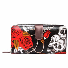 Women Men  fashion wallets skull print long wallets 4 kinds of color water-resistant oilcloth