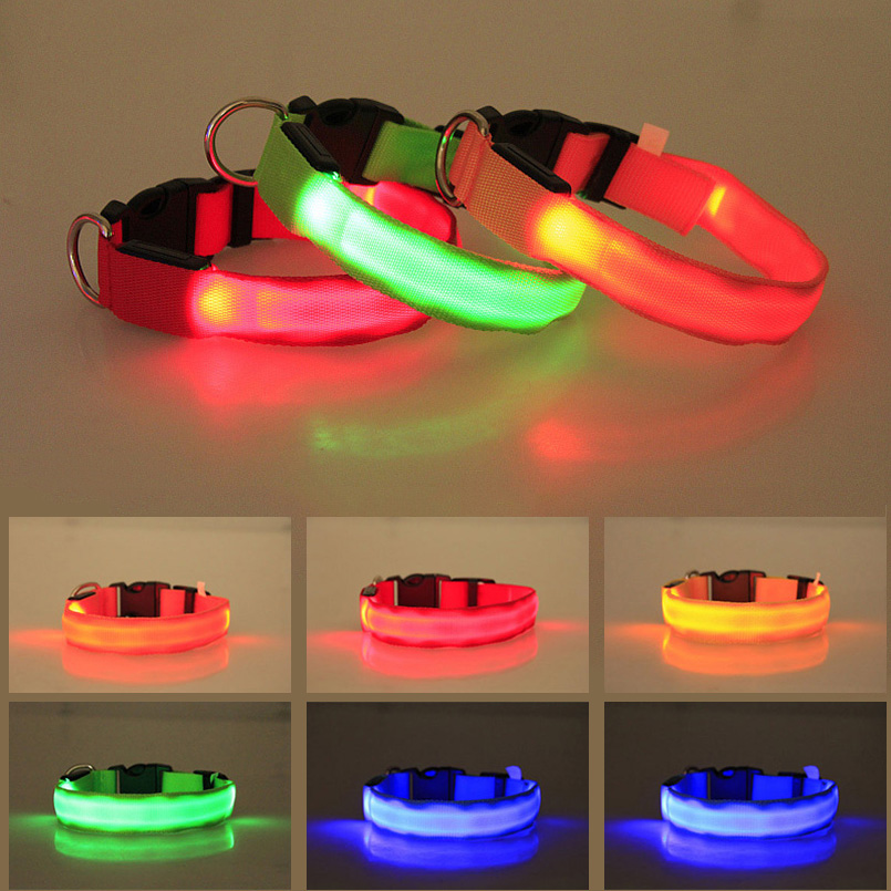 Night Safety Led Dog Collar Light Flashing Glow Pet Supplies Nylon Pet Cat Collars Dog Accessories For Small Large Dogs Collar
