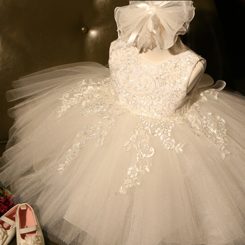 Dress Princess-Dresses Lace Wedding-Party Baby-Girl White Baptism Summer 1-Year Infantil