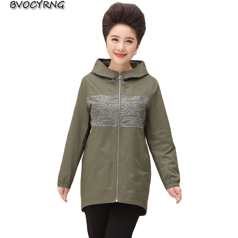 Middle-aged Hooded Coat Female Spring Long-sleeved Womens Windbreaker 2018 New Autumn Plus Size Leisure Jacket Outerwear A0428