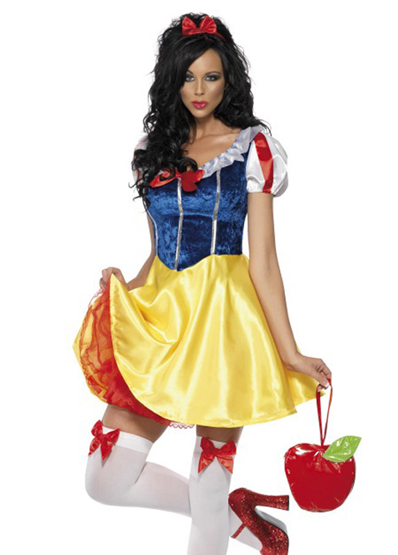 Free Shipping Adult Snow White Costume Disney Fairy Tales Princess Cosplay Halloween Stage Show Fairy Dresses Carnival