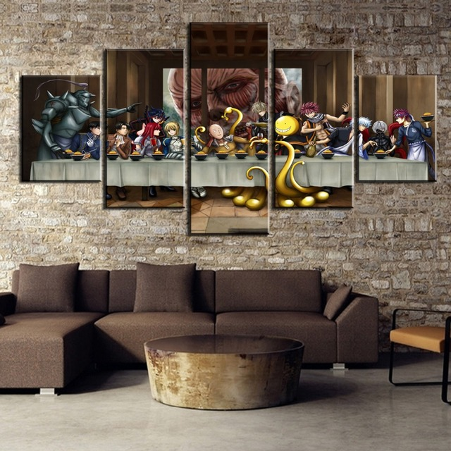 Us 20 0 5 Piece Last Supper Anime United Home Decor Poster Classical Wall Painting Canvas Painting Print On Canvas Painting With Frame In Painting