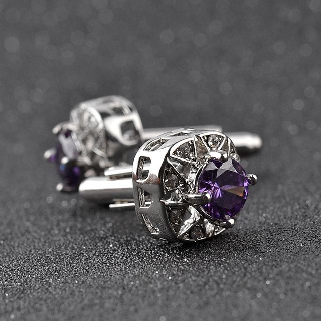 Luxury Crystal Cufflinks 2 Colors Option White Top Rhinestone Design Hotsale Cufflink