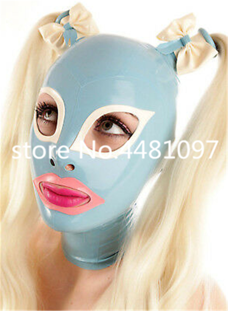 Sexy Women full head latex rubber mask hoods fetish cosplay mask Rubber Hood with Wigs Latex