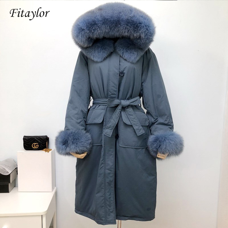 Fitaylor New Winter Large Natural Fox Fur Collar Down Coat Women Hooded Long Parkas Warm Snow Outwear Female With Belt Jacket