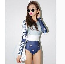 Korean clothing fitness snorkeling diving suit surfing speed dry long sleeved sun swimsuit Siamese female slim slim