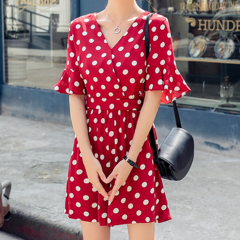 New Ladies Playsuits Women Wave Point Printed Rompers Playsuits V Neck Chiffon Short Jumpsuit Summer Overalls Women 39 s Jumpsuit in Rompers from Women 39 s Clothing