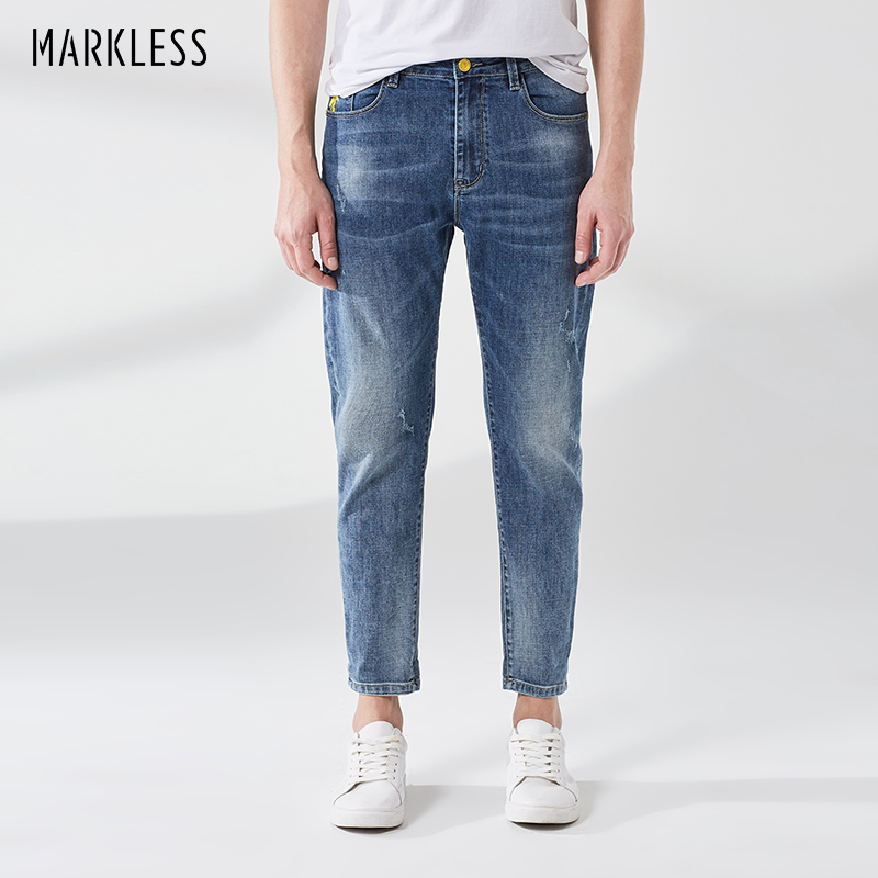 Men's Clothing Markless Mens Jeans Trouser 2019 Spring Slim Fit Denim Blue Pants Casual Fahion Mid Waist Jeans Nza9007m Meticulous Dyeing Processes