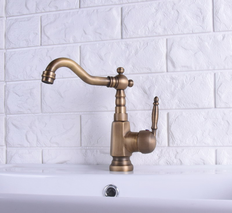 Vintage Retro Antique Brass Single Handle One Hole Bathroom Kitchen Basin Sink Faucet Mixer Tap Swivel Spout Deck Mounted Msf116
