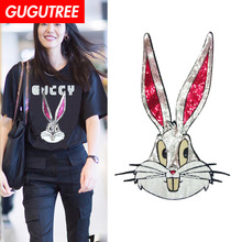 GUGUTREE embroidery Sequins big rabbit patches animal cartoon badges applique for clothing ZM-68