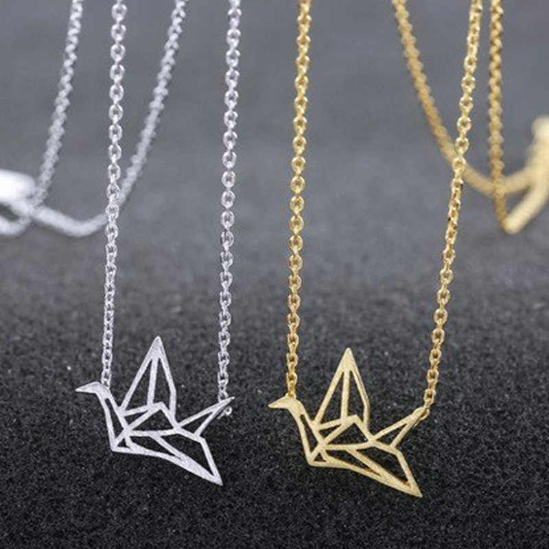 Gold/Silver Plated Origami Crane Chain Pendant Necklace Women Simple Origami Bird Animal pineapple Cactus Necklaces Jewelry