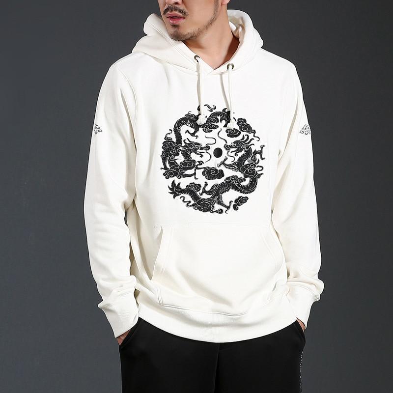 f920ffe40 AELFRIC Bird Embroidery Hoodies Sweatshirts Men 2018 Chinese Style Cotton  Kanji Streetwear Autumn Winter Fashion Hoodie DR024