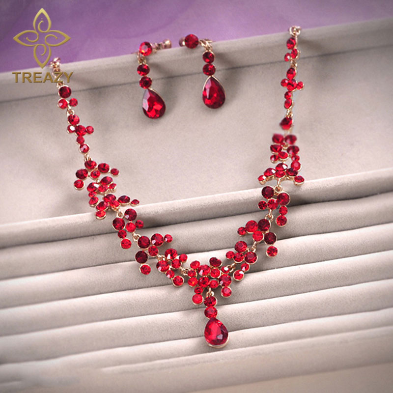 TREAZY Elegant Floral Waterdrop Bridal Jewelry Set Red Crystal Necklace Earring Set For Women Wedding Party Jewelry Accessories