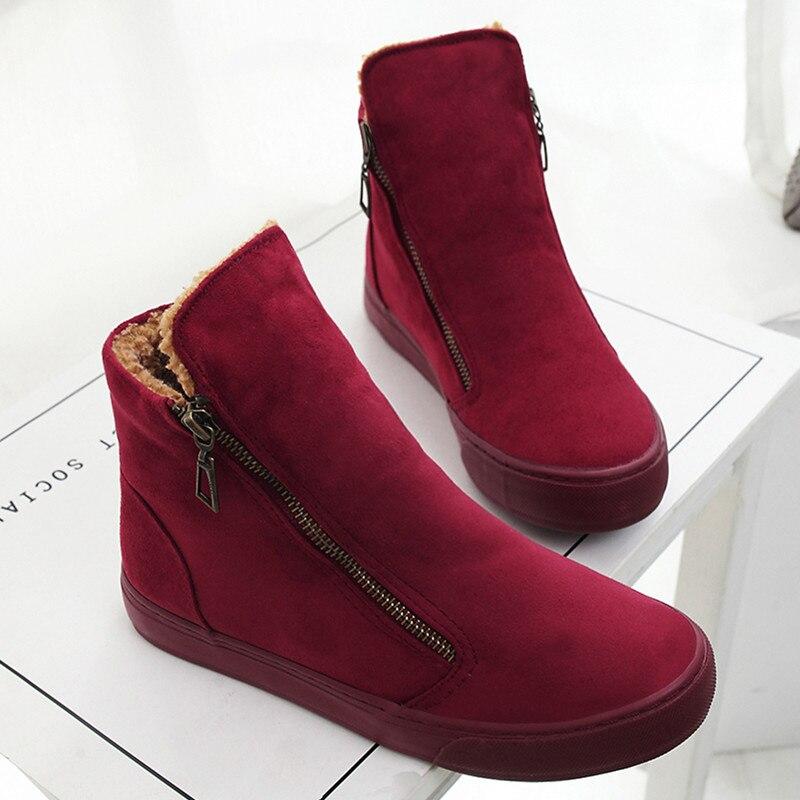 Frauen Knöchel Schnee Stiefel Weibliche Flock Zipper Winter Turnschuhe Warme Plüsch Frauen Casual Schuhe Sapato Feminino