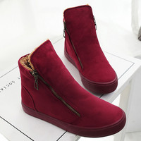 Women Ankle Snow Boots Female Flock Zipper Winter Sneakers Warm Plush Women Casual Shoes Sapato Feminino