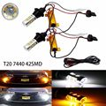 2X 7440 T20 42-SMD 2835 Dual Color Switchback White/Amber Stop Reverse Brake Backup Turn Signal LED Light