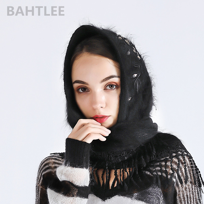 BAHTLEE 2018 Autumn winter women's angora rabbit turban hijab Poncho triangular shawl scarf real Fur Wrap knitted cloak cape