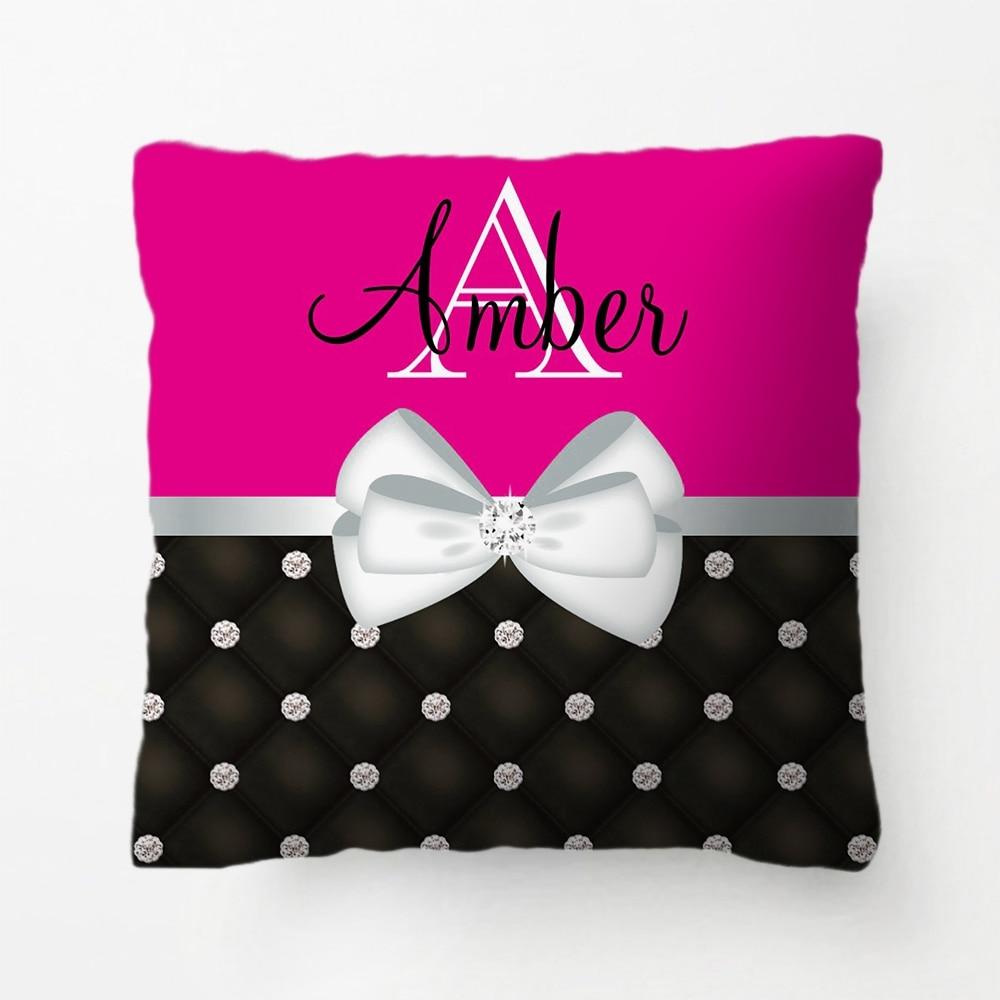 Bright Blue Rhinestone & Satin Monogram Throw Pillow decorative Cushion Cover Pillow Case Customize Gift For Bedroom Pillowcase