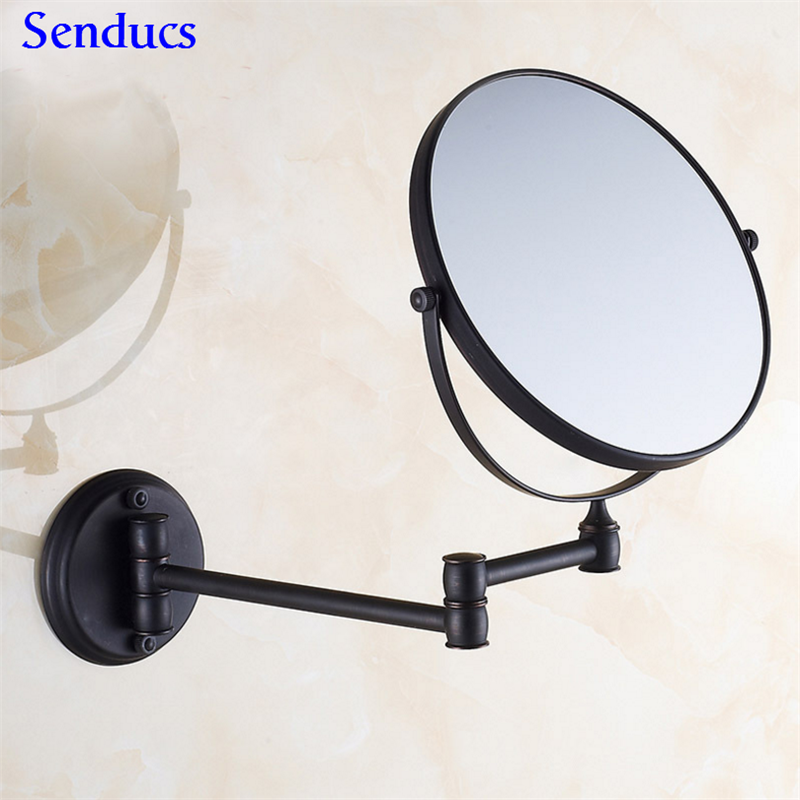 Senducs negro espejo del baño con latón baño espejo 8 pulgadas 3x baño ESPEJOS de pared mouted baño redondo espejo