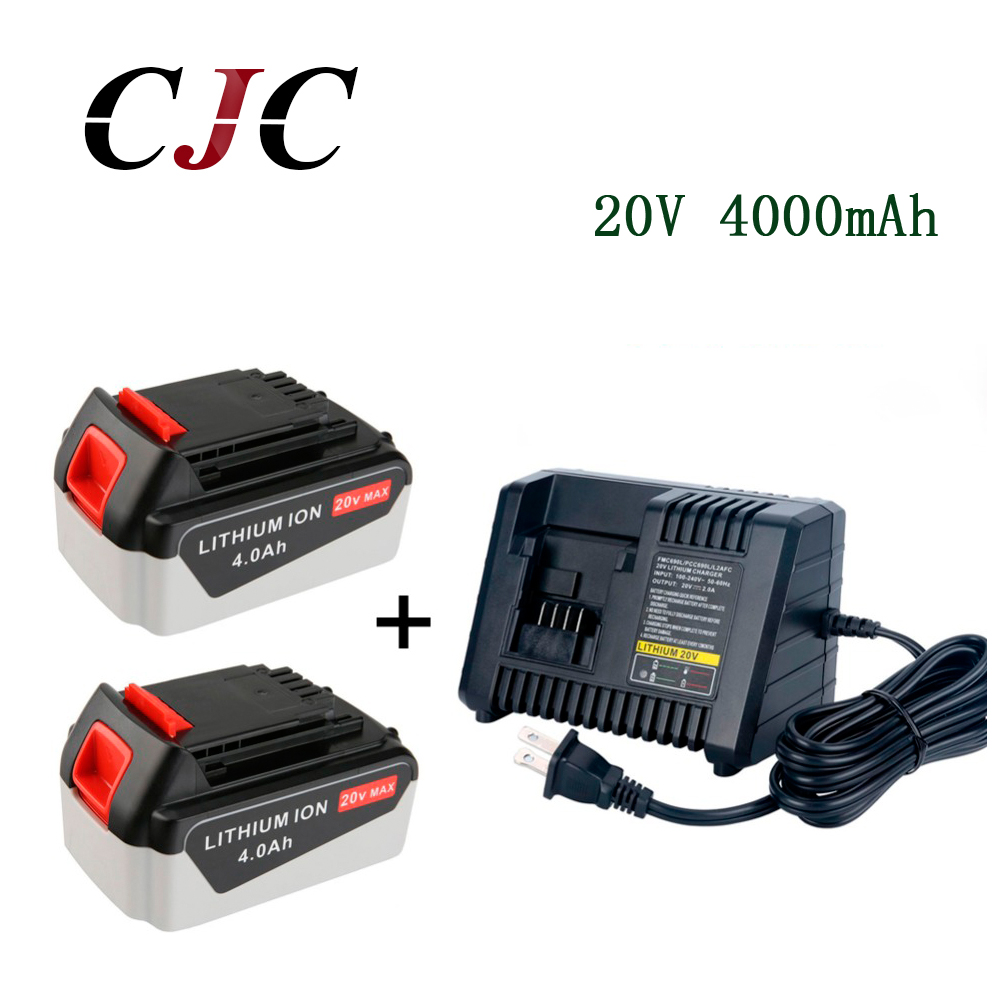 2 STKS 20 V Ion 4000 mAh Oplaadbare Power Tool Vervanging Batterij voor BLACK & DECKER LB20 LBX20 LBXR20 + Charger-in Vervangende batterijen van Consumentenelektronica op