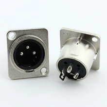 цена на Metal 3 pin XLR male socket Panel Mount Chassis Socket Connector XLR 3 pin female Converter adapter