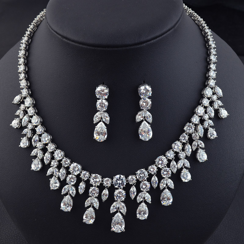 New design sparkling luxury AAA Cubic Zirconia bridal jewelry set,high quality fashion necklace earring set for wedding/party