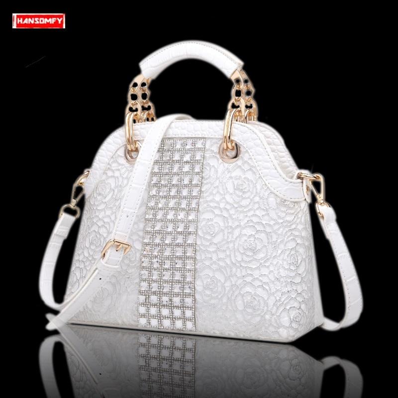 New Luxury fashion rhinestone Women handbags Crocodile pattern diamond female shoulder slung shell bag messenger crossbody