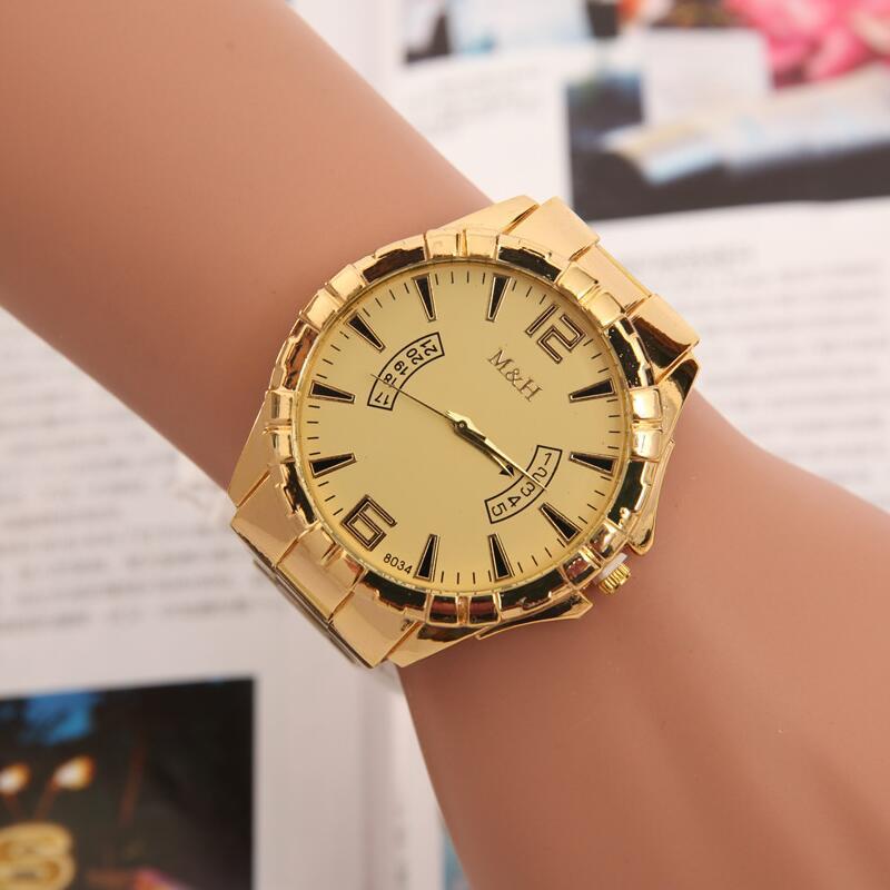 MINHIN Gold Plated Men Watches Top Brand Luxury Alloy Band Wristwatch Women Clock Quartz Wrist Watch Calendar Relogio Masculino