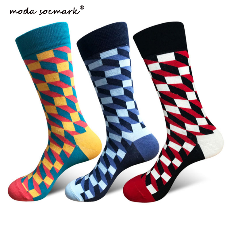 Men Personality European Version Couples Socks Funny Happy Cotton Plaid Geometric Lattice Striped Female