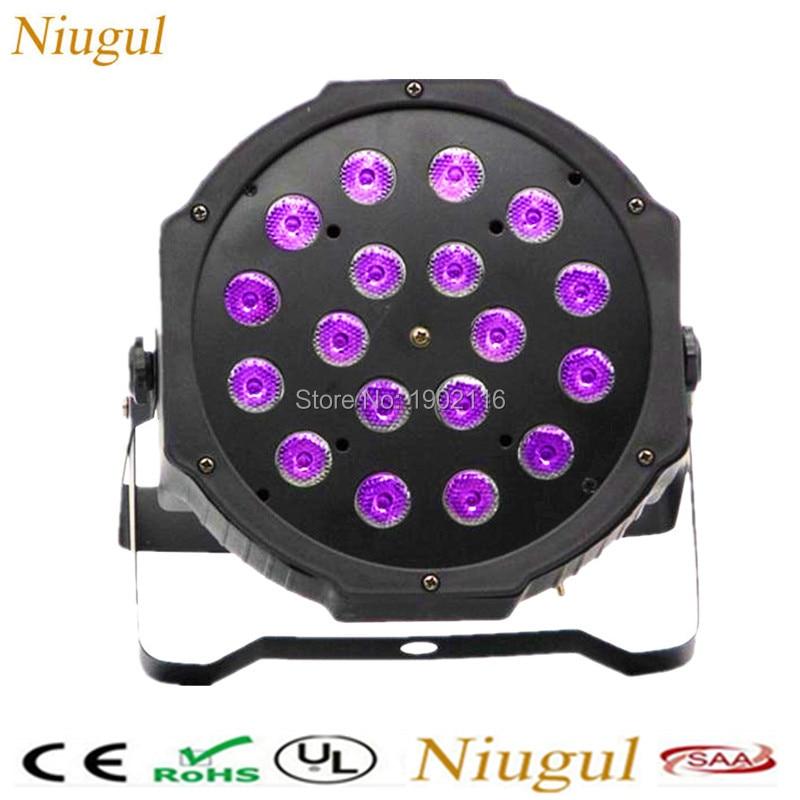 Niugul LED Fat Par 18X3W Led wash effect Light Stage DJ CULB Lighting Purple color DMX512 Led Par Christmas home Party Lights