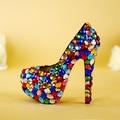 Muilti cor de luxo grande strass sapatos coloridos sapatos de casamento saltos finos de salto alto sapatos de plataforma sapato festa menina frete grátis