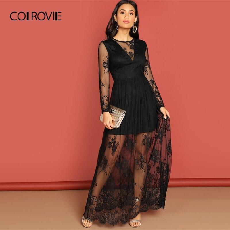 COLROVIE черный сетки Вечерние кружево платье женская одежда 2019 Весна трапециевидной формы Высокая талия платье макси вечерн